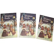 1953, Set of Three Christmas Carols Songsheets, Compiled by John Bach, Excellent for Their Age. Rare Sheet Music