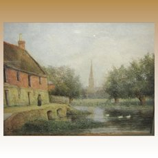 Early 20th Century Watercolor of Farm Scene with River & Cathedral, Rob Harris