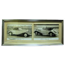 Vintage Framed Photos of Mercedes Benz Type 170V, Cabriolet A, 1936-1941