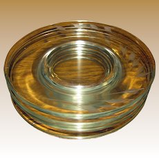 "6 Libby Rock Sharpe 8"" Wheat Pattern No. 3003 Cut Crystal Salad Plates"