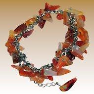 Bunchy Natural Agate & Silver-tone Bracelet