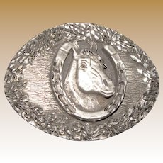 3D Horse Shoe Rodeo Cowgirl Belt Buckle Made in USA