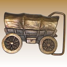 Circa 1970's Covered Wagon Belt Buckle by Adezy of Denver, Great S. Western Look