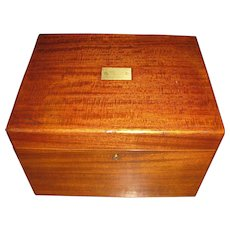 Antique Edwardian Solid Mahogany Benson & Hedges Cigar Humidor