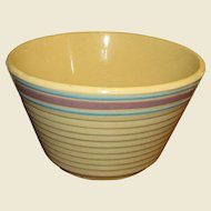 Watt~Oven~Ware~#9 Banded  Blue & Pink Stripe Mixing Bowl~USA
