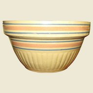 "Vintage 9 1/2"" Batter Mixing Bowl Blue/Pink Dbl.Band Stripe Yellow Ware Stoneware Pottery"