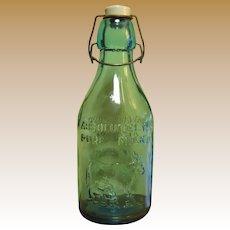 Vintage Milk Bottle, Thatcher's Dairy, Aqua Blue, Glass Bottle, Near Mint