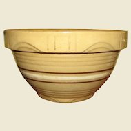 Yellow Ware Mixing Bowl/Molded Arch Brown Banded Stoneware