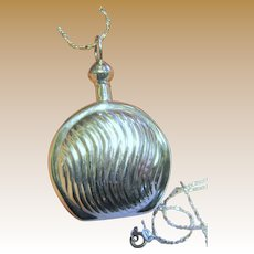 Beautiful Ribbed Sterling Silver Perfume Bottle Pendant on Sparkly Chain