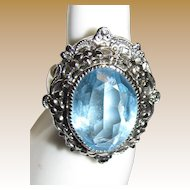 Vintage Signed Whiting & Davis Silvertone & Aqua Crystal Statement Ring