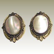 Elegant Whiting & Davis Goldtone Mother of Pearl Clip Earrings