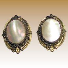 Elegant Whiting & Davis Goldtone Mother of Pearl Clip Earrings