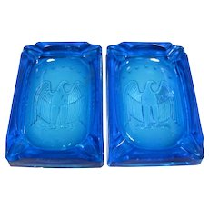 2 Turquoise Glass Bicentennial Eagle Ashtrays, L.E. Smith