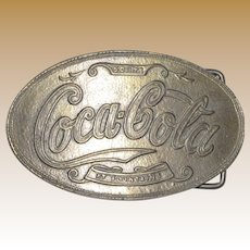 """Vintage 1970's """"Coca Cola at Fountains 5 Cents Soda"""" Belt Buckle"""