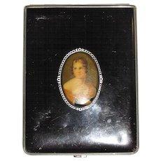 Circa 1940's Ladies Portrait Cigarette Case in Vinyl & Chrome