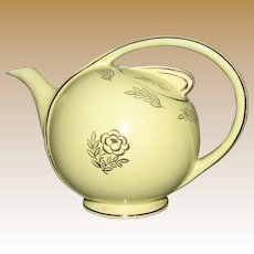 1950's, Hall Airflow Teapot 6 cup Yellow Rose Decals in Gold, Near Mint