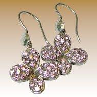 Vintage Sterling Silver & Pink Rhinestone Butterfly Dangle Earrings
