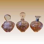 Art Deco 3 Piece Peach Etched Glass Dresser Set