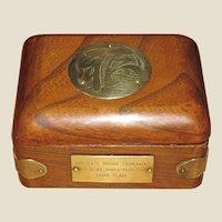 Asian Hardwood Playing Card Box, Engraved Brass Accents, Korea Bridge Tournament Award