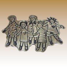 Large Vintage EFS Save the Children Sterling Silver Hold Hands Brooch