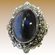 Whiting & Davis Silvertone Ring with Deep Blue Glass Cabouchon
