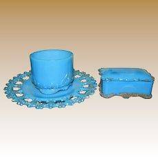 Lovely Antique Delphite Blue Milk Glass Vanity or Dresser Set
