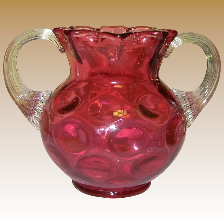 Vintage Fenton Cranberry Glass Vase Coin Dot Pattern Ruffled Top