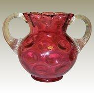 Vintage Fenton Cranberry Glass Vase, Coin Dot Pattern, Ruffled Top, Mint