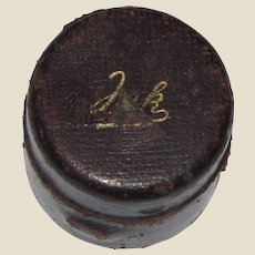 Mid 1800's Leather Cased Campaign/Travel Ink Well w/Original Bottle