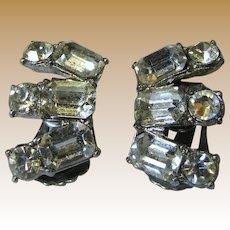 Signed Coro Rhineston Fan Clip Earrings, Bridal!