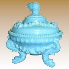 Westmoreland Blue Milk Glass Covered Trinket or Candy Bowl, Argonaut Dolphin Feet, Shell Decoration