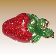 Cute Enameled Strawberry Pin, Perfect for Summer!