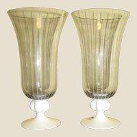 Mid Century Modern Pair Vintage Johansfors Clear Blown Glass White Stem Water Goblet w/ White Stripes, Designed by Bengt Orup of Sweden, Superb Scandinavian Art Glass