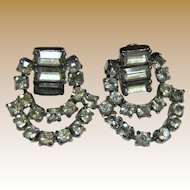 Unsigned 60's Rhinestone Swag Earrings, Clip Backs, Bridal