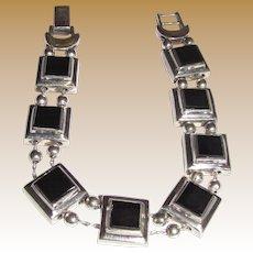 Elegant Sterling & Onyx Slide Bracelet, 34 Grams