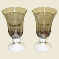 Mid Century Modern Pair Vintage Johansfors Clear Blown Glass Cordial Glasses w/ White Stripes, Designed by Bengt Orup of Sweden, Superb Scandinavian Art Glass