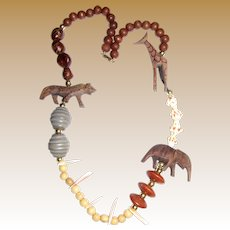 80's Tribal Necklace w/ Shells & Hand Carved Wooden Animals