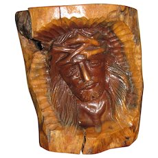 Vintage Olive Wood Carving of Christ at the Crucifixion