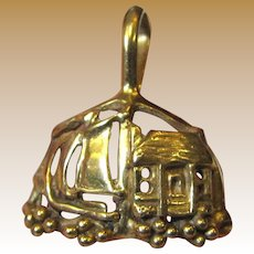 Vintage Hand Made 14K Gold Charm, Boat & House, 3 1/2 Grams