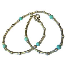 Pretty Sterling & Turquoise Italian Ankle Chain