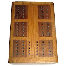 Hard Wood Travel Cribbage Board with Hidden Compartment to Store Cards & Pegs