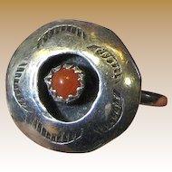 Petite Navajo Coral & Sterling Shadowbox Ring, Size 6 1/4