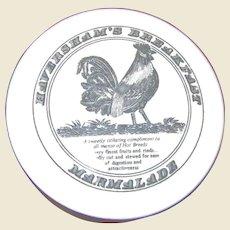 Haversham's Breakfast Marmalade Jar, Rooster Lid, Ceramic Porcelain
