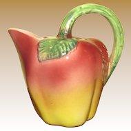 Italian Pottery Apple Pitcher, Rich Red, Green & Yellow Glazes, Mint!