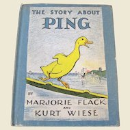 The Story About Ping by Marjorie Flack and Kurt Wiese, 1933, First Edition HC
