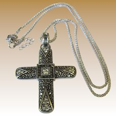 """Large 2"""" Sterling & Marcasite Pendant Necklace on Woven Sterling Chain, 12 Grams"""