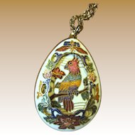 Double Sided Gilt Closionne Parrot Pendant Necklace w/ Filigree Border