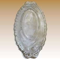 "Imperial Pressed Glass Pickle Dish ""Loves Request is Pickles"", Mint"