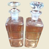 """Nice Pair of 7 1/2"""" Indented Antique Apothocary Bottles with Ground Glass Stoppers"""