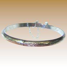 Pretty Sterling Silver Engraved Hinged Bangle Bracelet, 7 Grams